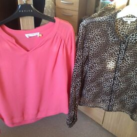 Selection of 4 ladies smart tops/blouses petite size 12 from Next and John Lewis