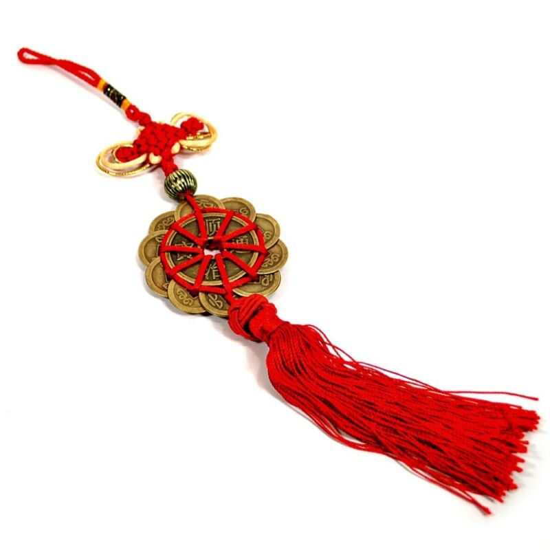FENG SHUI 12 COIN TASSEL HIGH QUALITY Red Cure Fortune Wealth Luck Prosperity