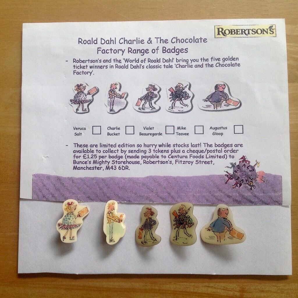 Robertsons Non Golly Roald Dahl Set of5 Ltd Edn Badges- Golden Ticket Winners- 2002- Order Form-Exc.