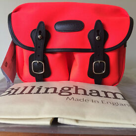 Billingham Hadley Small Bag, Limited Edition in Neon Red / Black Leather. NEW WITH TAGS!