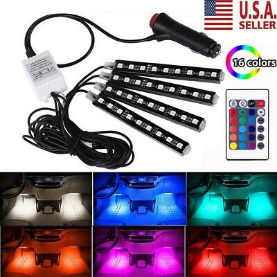 4Pcs 16 Color Car Interior Atmosphere Neon Lights Strip IR Remote Control 9 LED
