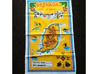 """Grenada Map on a Linen Material White 27"""" x 17"""" New"""