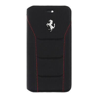 iPhone 7 Ferrari 488-Book type Case  Leather Red Stitches Black Silver Logo