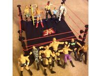 Wrestling ring with loads of figures