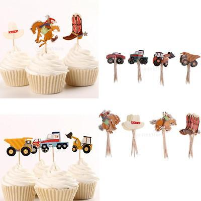 Car Themed Baby Shower (24Pcs Truck Tractor Car Cowboy Theme Cupcake Picks Cake Topper Baby)