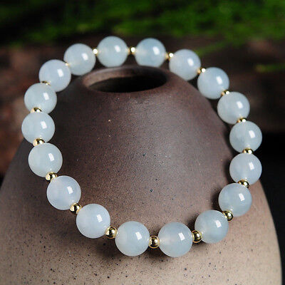 8MM Natural Light Blue Jade Jadeite Round Gems Beads Stretch Bracelet 7.5'' AAA for sale  Shipping to Canada