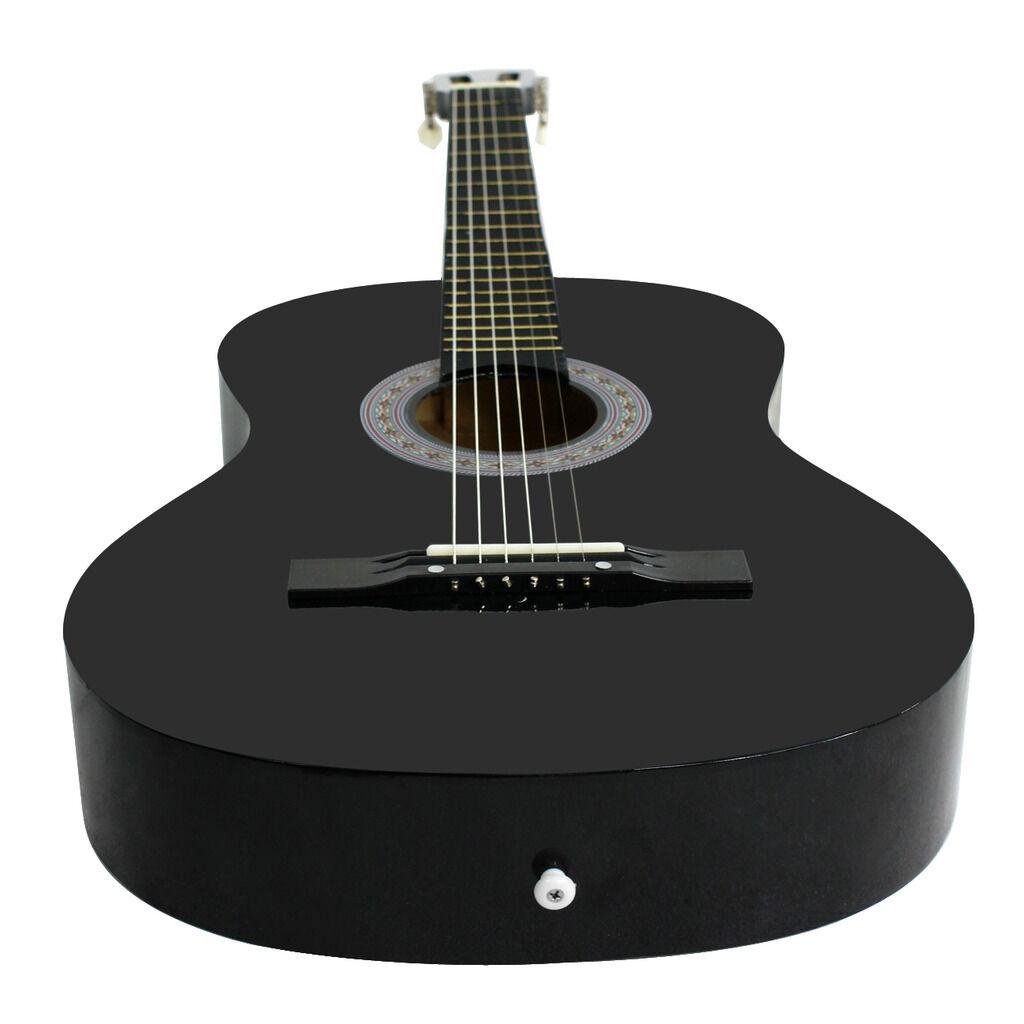 38″ Black Acoustic Guitar Starter Package Guitar Gig Bag Strap Pick Portable Acoustic Guitars