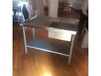 Stainless steel sink with shelf under. 1200mm