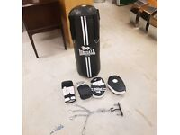 Punching bag set with boxing gloves