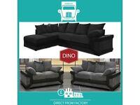🐵New 2 Seater £229 3 Dino £249 3+2 £399 Corner Sofa £399-Brand Faux Leather & Jumbo CordၸV4