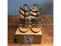Zara khaki strappy wedge sandal size 4
