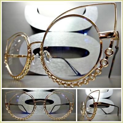 CLASSIC RETRO CAT EYE Style Clear Lens EYE GLASSES Rare Rose Gold Fashion (Gold Cat Eye Glasses)