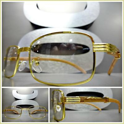 5d62885db3d Mens CLASSY Style Clear Lens EYE GLASSES Gold   Wood Wooden Effect Fashion  Frame