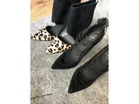 Black missguided heels leopard and black atmosphere heels both size 7 £8