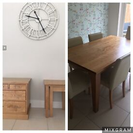 Next Wood Dining Table and 6 chairs AND nest tables AND Sideboard