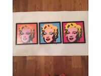 3 Andy Warhol Prints in wooden frame