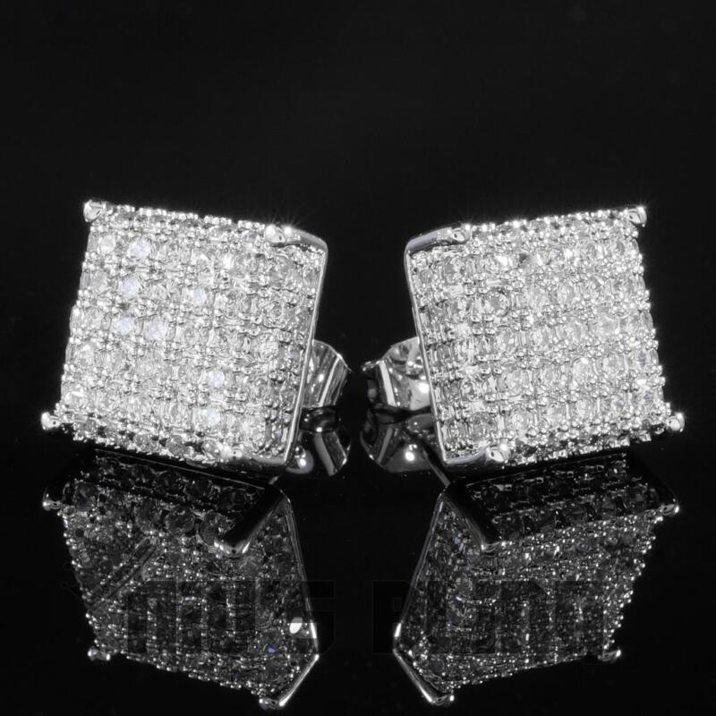 18K White Gold Bling Out Iced AAA Lab Diamond Micropave Square Stud Earring 8S