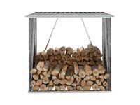 Garden Log Storage Shed Galvanised Steel 163x83x154 cm Grey-44959