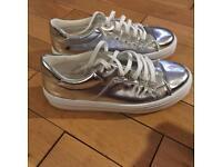 Silver sparkly plimsoles size U.K. 8
