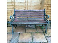 Traditional style wooden slatted / wrought iron garden bench
