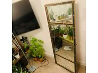 antique large mirror With Blue And Gold Frame 152x 62cm