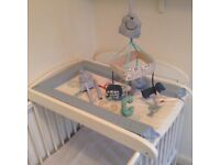 Cot top wooden changing unit & mat with matching abc musical mobile.