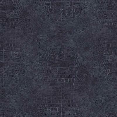Wallpaper Designer Faux Croc Crocodile Alligator Textured Navy Blue Vinyl ()