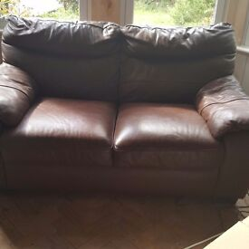 Chocolate brown leather 2 seater settee