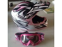 Kids Motor X helmet and goggles