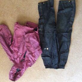 Girls Sprayaway goretex coat and black Regatta over trousers