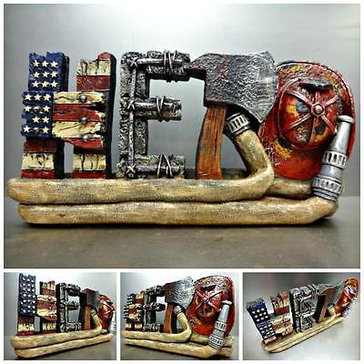FIREFIGHTER FIRE MAN HERO PLAQUE HOME OFFICE DECORATION SCULPTURE Unique Gift