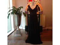 Wonderful black long Evening dress with silver stones and pailetts.