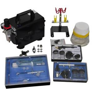 Airbrush compressor set with 3 pistols 255x135x220 mm(SKU 140286) Mount Kuring-gai Hornsby Area Preview
