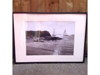 Large black and white seaside print