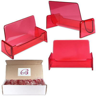 12pc Hq Acrylic Plastic Business Name Card Holder Display Stand Clear Red