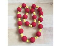 Felt Handmade Natural Wool Beads Long Necklace Design G