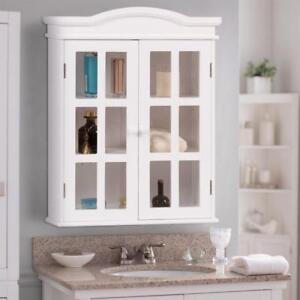 Wall-Mount Bathroom Storage Cabinet Medicine Organizer Double Doors Shelved New - BRAND NEW - FREE SHIPPING