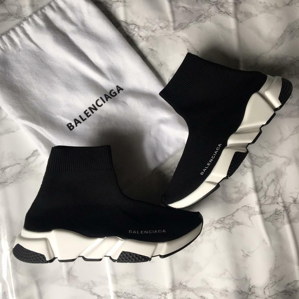 Men's Balenciaga soc Trainers black white sole season design | in Wembley,  London | Gumtree