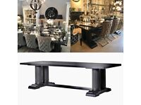 Extra Large Black Lacquer Column Dining Table. Stunning and brand new. Original price £1450!