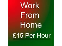Work From Home - Earn Up to ��15 Per Hour ** Part time, Student, Immediate start Extra Income **