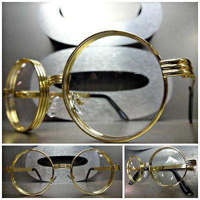 Mens CLASSIC VINTAGE RETRO Style Clear Lens EYE GLASSES Round Gold Fashion Frame