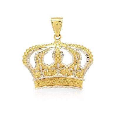 10K Yellow And White Gold Diamond Cut Design Open Big Crown Charm Pendant 1.3