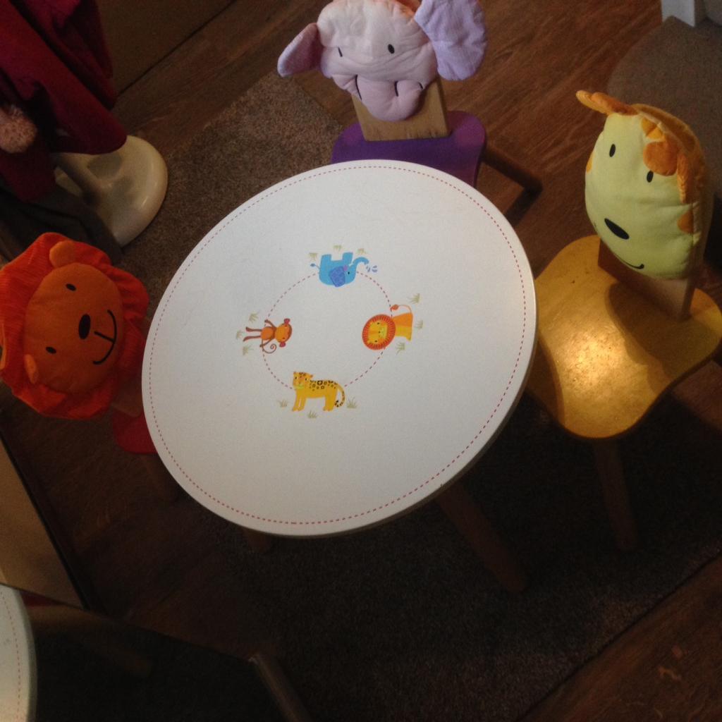 John Crane Tidlo Pintoy child kids table chair set jungle animal ...