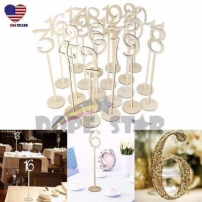 20x Table Number Wooden Stick 1-20 Set w/ Base For Wedding Birthday - Birthday Centerpieces For Tables