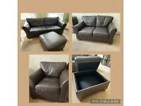 M&S BROWN LEATHER SOFA SET - 3 SEAT, 2 SEAT, CHAIR & POUFFE