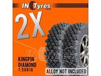 2x 7.50R16 Kingpin Highlander Diamond Off Road Mud Terrain MT 4X4 Tyres x2