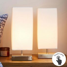 Stunning Dimmable Touch Table Lamps (CREAM) x2