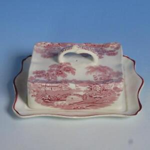 Royal Staffordshire Clarice Cliff Red Tonquin - Rare Rectangular Butter Dish