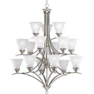 NEW Progress Lighting P4365-09 15 Light Three-Tier Trinity Chandelier, Brushed Nickel