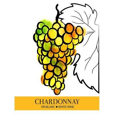 Chardonnay Adhesive Wine Bottle Labels - 30-Pack